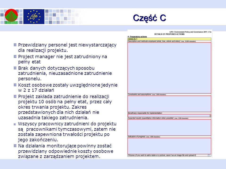 Część C Przewidziany personel jest niewystarczający dla realizacji projektu. Project manager nie jest zatrudniony na pełny etat Brak danych dotyczącyc