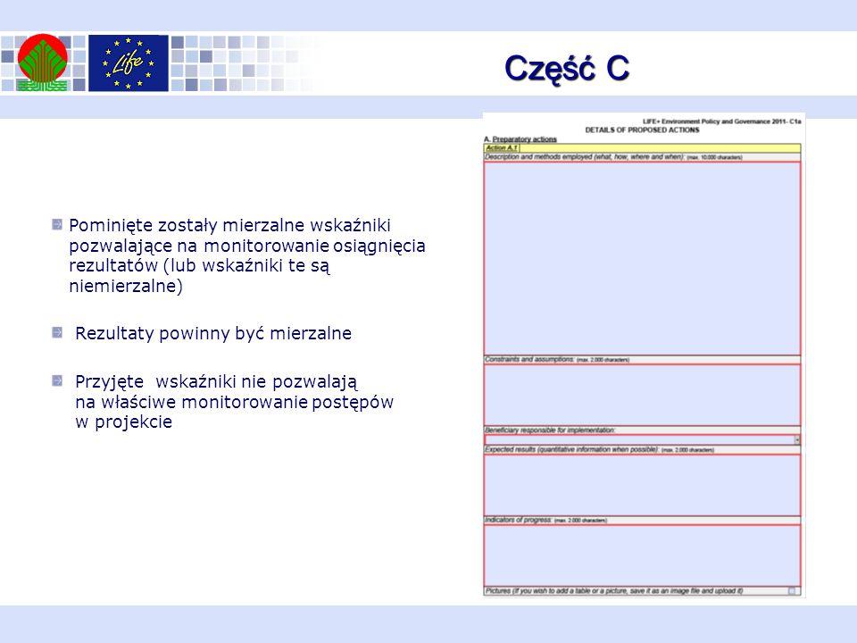 Część C Pominięte zostały mierzalne wskaźniki pozwalające na monitorowanie osiągnięcia rezultatów (lub wskaźniki te są niemierzalne) Rezultaty powinny być mierzalne Przyjęte wskaźniki nie pozwalają na właściwe monitorowanie postępów w projekcie