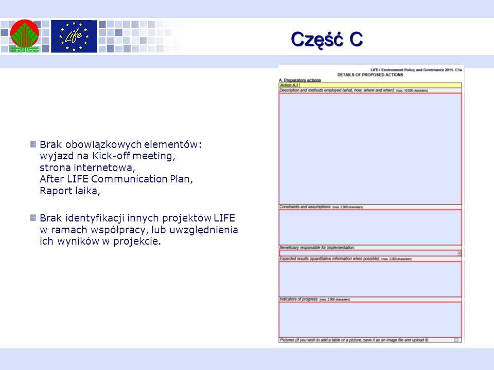 Część C Brak obowiązkowych elementów: wyjazd na Kick-off meeting, strona internetowa, After LIFE Communication Plan, Raport laika, Brak identyfikacji