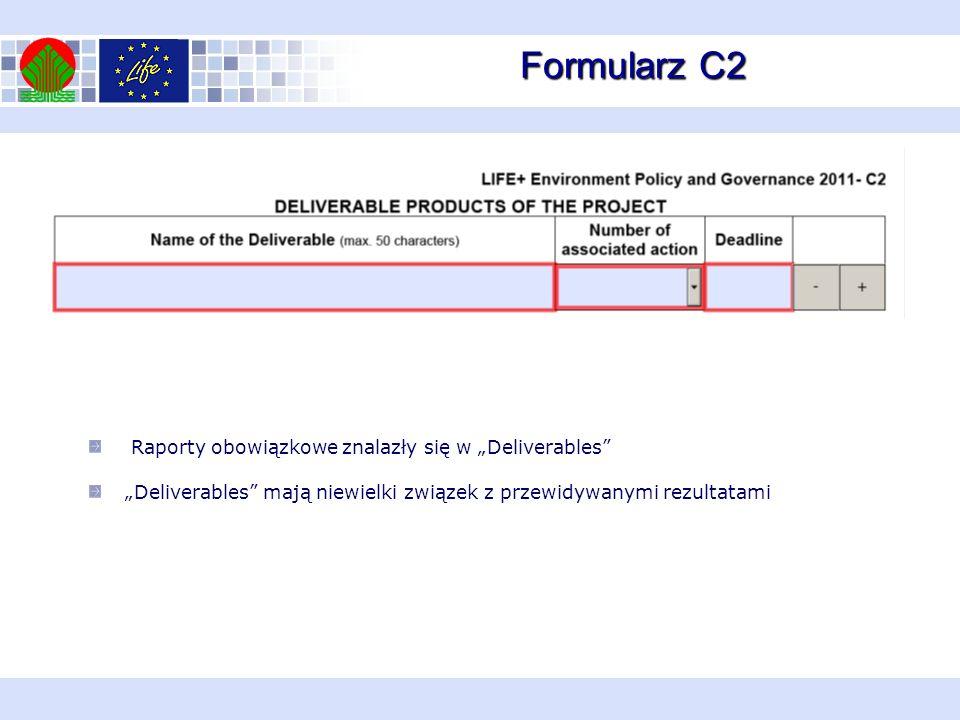 Formularz C2 Raporty obowiązkowe znalazły się w Deliverables Deliverables mają niewielki związek z przewidywanymi rezultatami