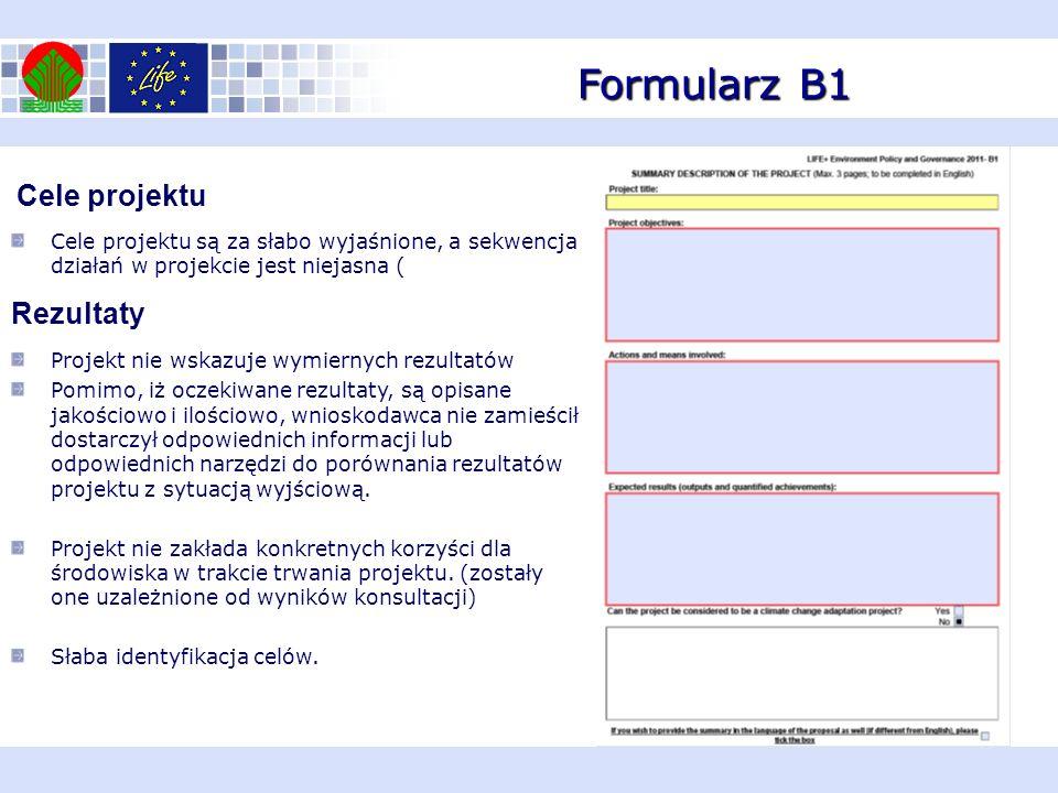 Formularz B1 Cele projektu Cele projektu są za słabo wyjaśnione, a sekwencja działań w projekcie jest niejasna ( Rezultaty Projekt nie wskazuje wymier