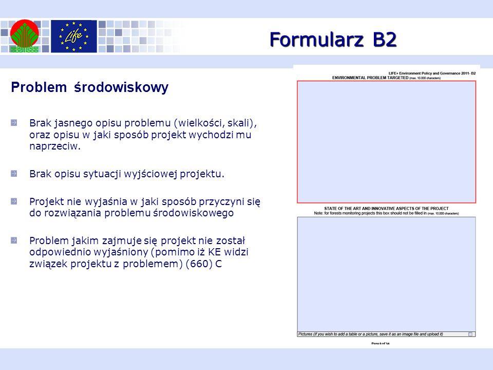 Formularz B2 Problem środowiskowy Brak jasnego opisu problemu (wielkości, skali), oraz opisu w jaki sposób projekt wychodzi mu naprzeciw. Brak opisu s