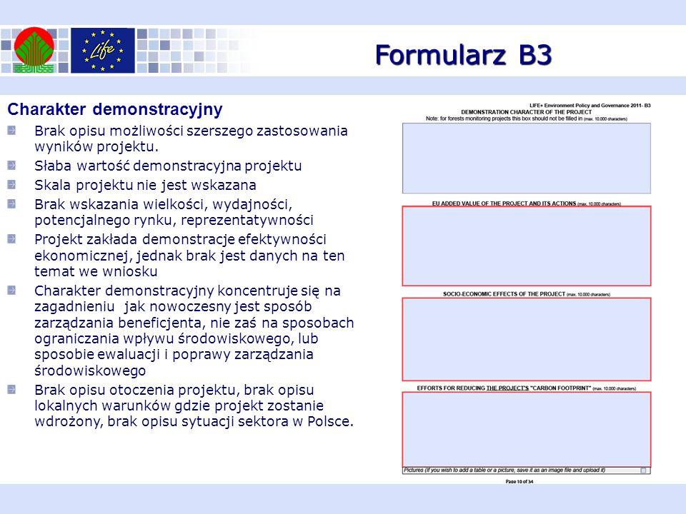 Formularz B3 Europejska wartość dodana projektu i proponowanych działań Projekt nie ma charakteru innowacyjnego a więc wbrew deklaracjom nie jest zgodny z Environmental Technologies Action Plan (ETAP) Brak wykazania zgodności z legislacją UE i Polską.