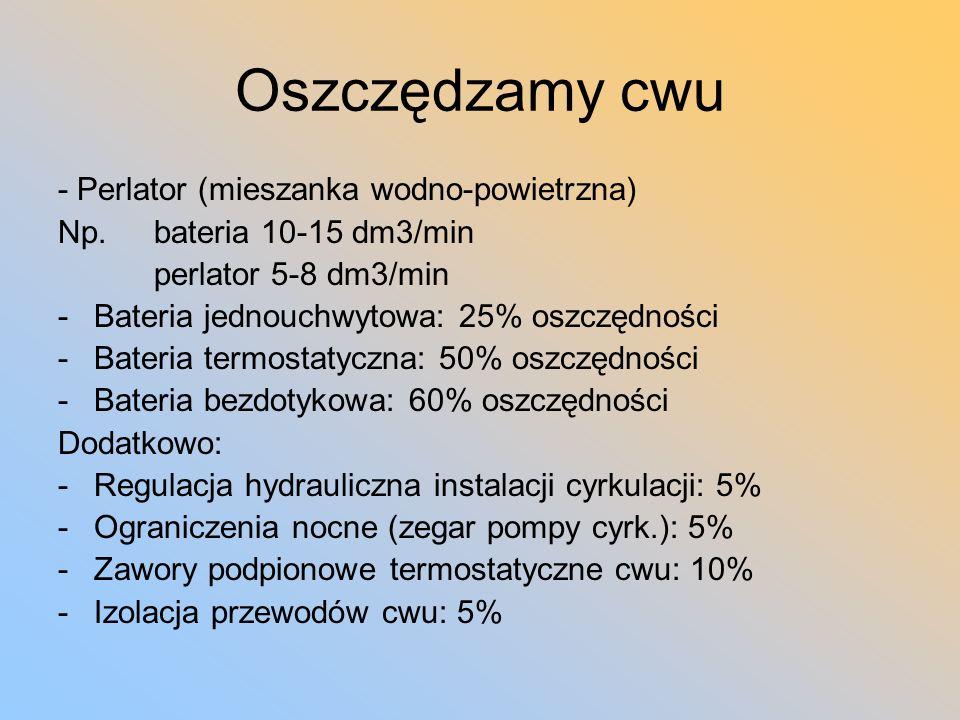Oszczędzamy cwu - Perlator (mieszanka wodno-powietrzna) Np. bateria 10-15 dm3/min perlator 5-8 dm3/min -Bateria jednouchwytowa: 25% oszczędności -Bate
