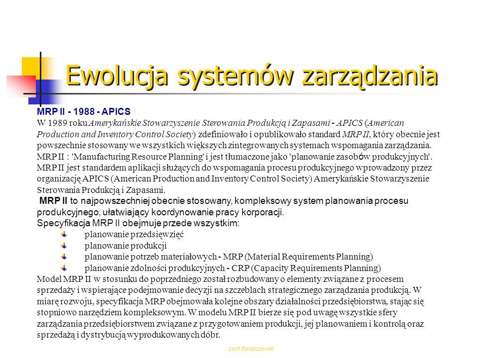 Lech Barszczewski MRP I Metoda MRP bierze swoje początki w późnych latach pięćdziesiątych, kiedy to opracowano jej pierwszą wersję - MRP I czyli Mater