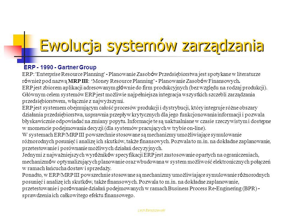Lech Barszczewski System klasy MRP II powinien zgodnie ze specyfikacją zawierać następujące funkcje: Planowanie biznesowe (Business Planning) Planowan