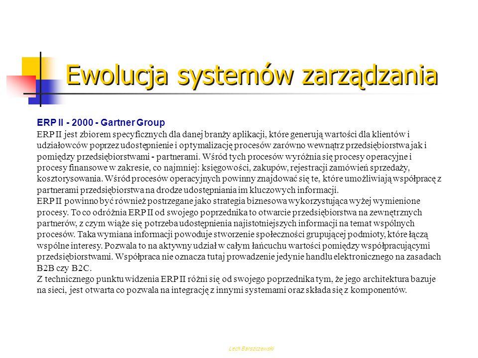 Lech Barszczewski Ewolucja systemów zarządzania MRP II Celem jest zmniejszenie zapasów, wzrost wydajności, poprawa obsługi klienta. MRP II jest system