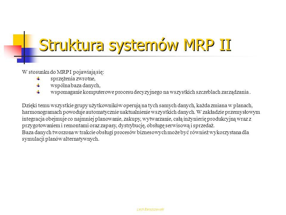 Lech Barszczewski Struktura systemów MRP I