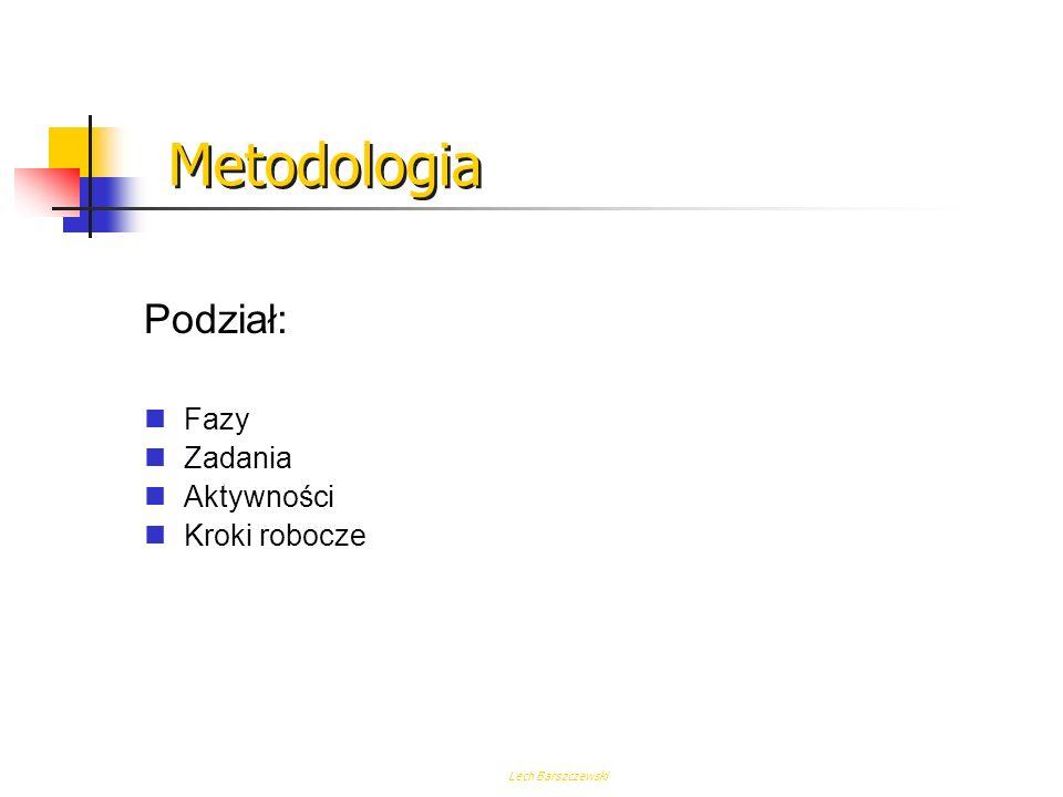 Lech Barszczewski Metodologia Metodologia jest strukturalnym podejściem do wykonania złożonych zadań. Służy ona do dekompozycji zadania na kroki, któr
