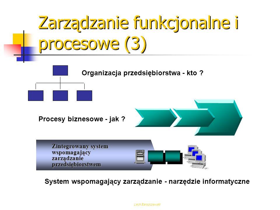 Lech Barszczewski Zarządzanie funkcjonalne i procesowe (2) CechaFunkcjonalneProcesowe TechnologiaFunkcjonalnie dyskretnaZintegrowana procesowo Miary c