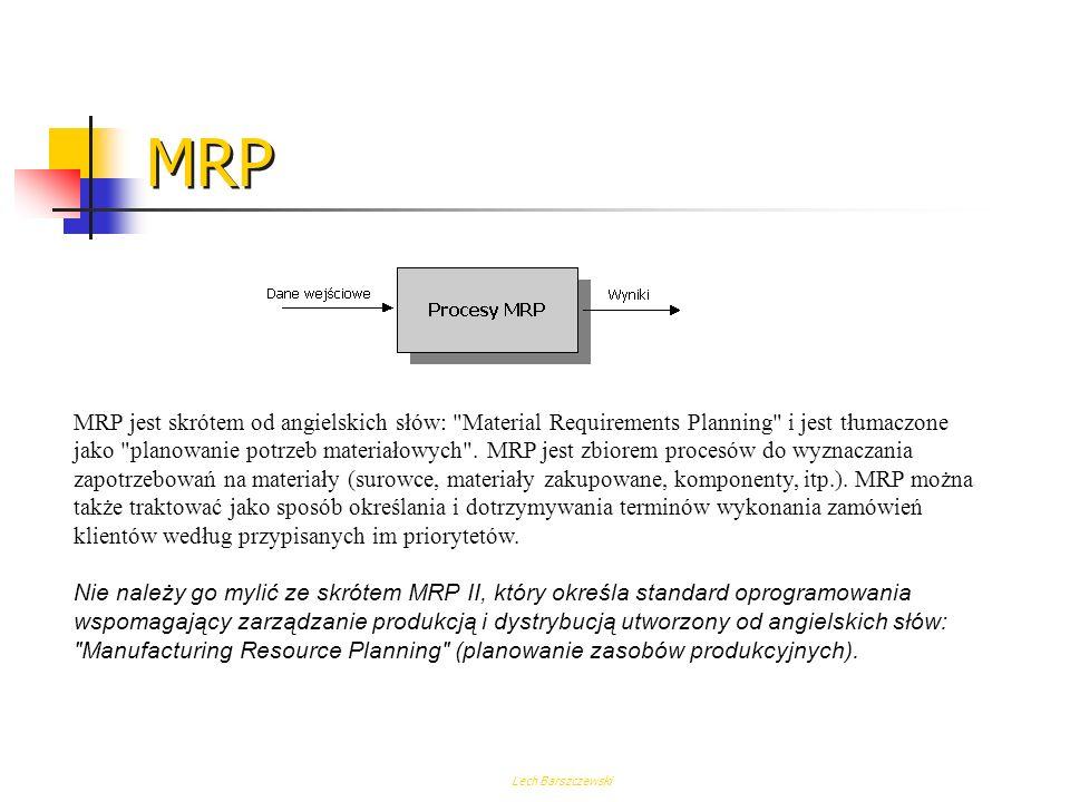 Lech Barszczewski Struktura systemów MRP II W stosunku do MRP I pojawiają się: sprzężenia zwrotne, wspólna baza danych, wspomaganie komputerowe procesu decyzyjnego na wszystkich szczeblach zarządzania.