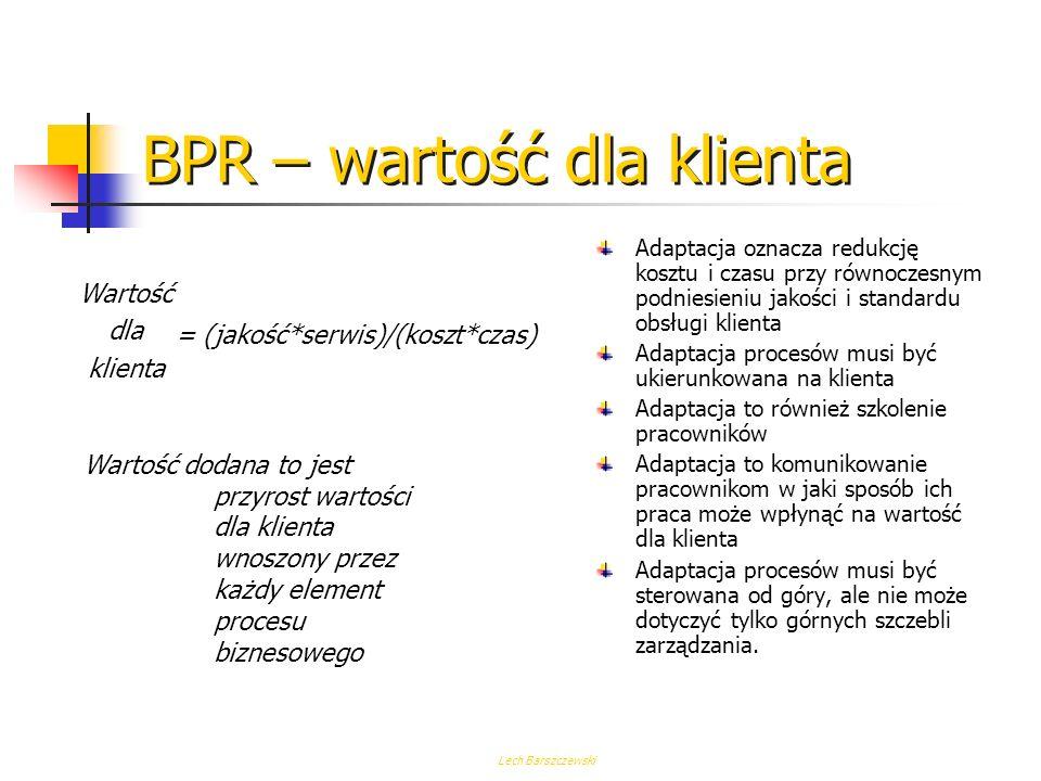 Lech Barszczewski BPR Adaptacja (Redesign) Zmiana wartości dodanej procesów biznesowych, systemów, polityki i struktury organizacyjnej które je wspier