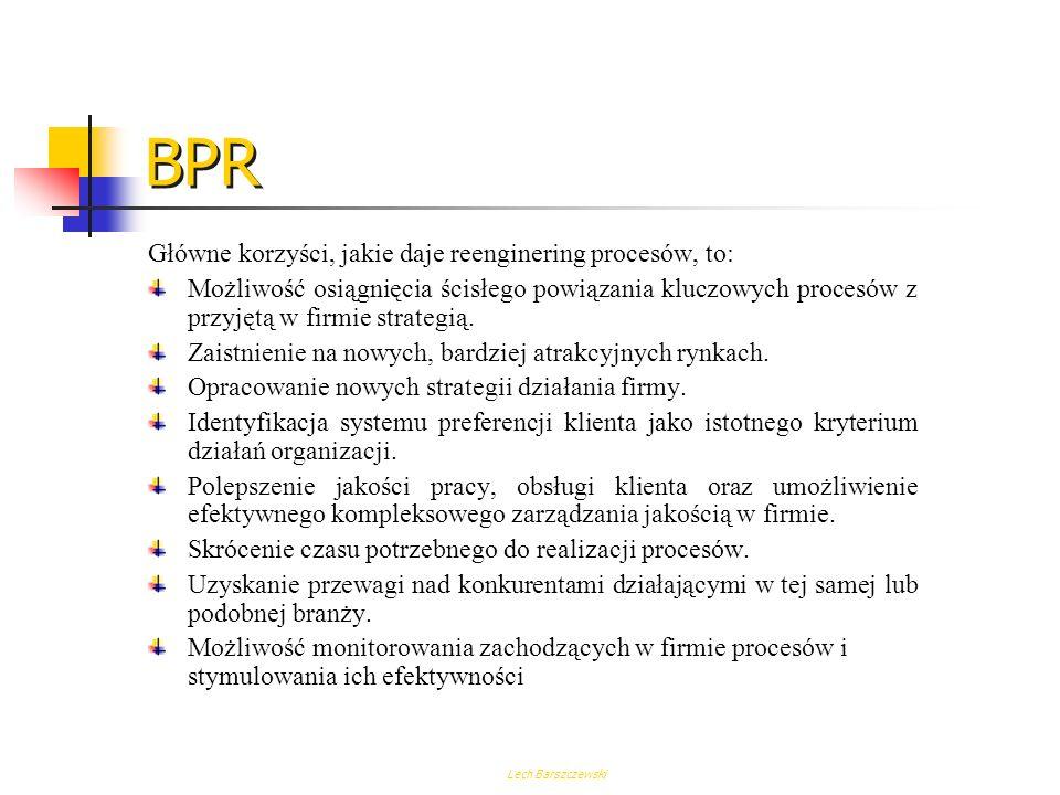Lech Barszczewski Schemat organizacyjny Hierarchia obszarów i procesów A B C F 124568 A B C F 1 2 45 6 8 Mapa procesu przekrojowego BPR - Tworzenie ma