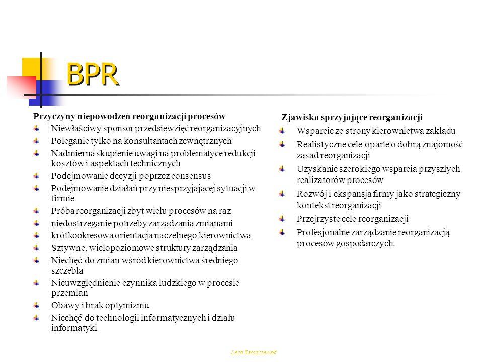 Lech Barszczewski BPR Główne korzyści, jakie daje reenginering procesów, to: Możliwość osiągnięcia ścisłego powiązania kluczowych procesów z przyjętą