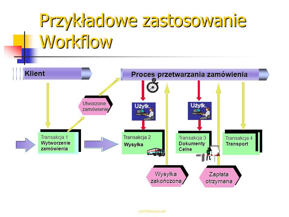 Lech Barszczewski Co to jest Workflow ? Workflow jest kompletnym rozwiązaniem automatyzującym przetwarzanie procesów gospodarczych. Zarządza on sekwen