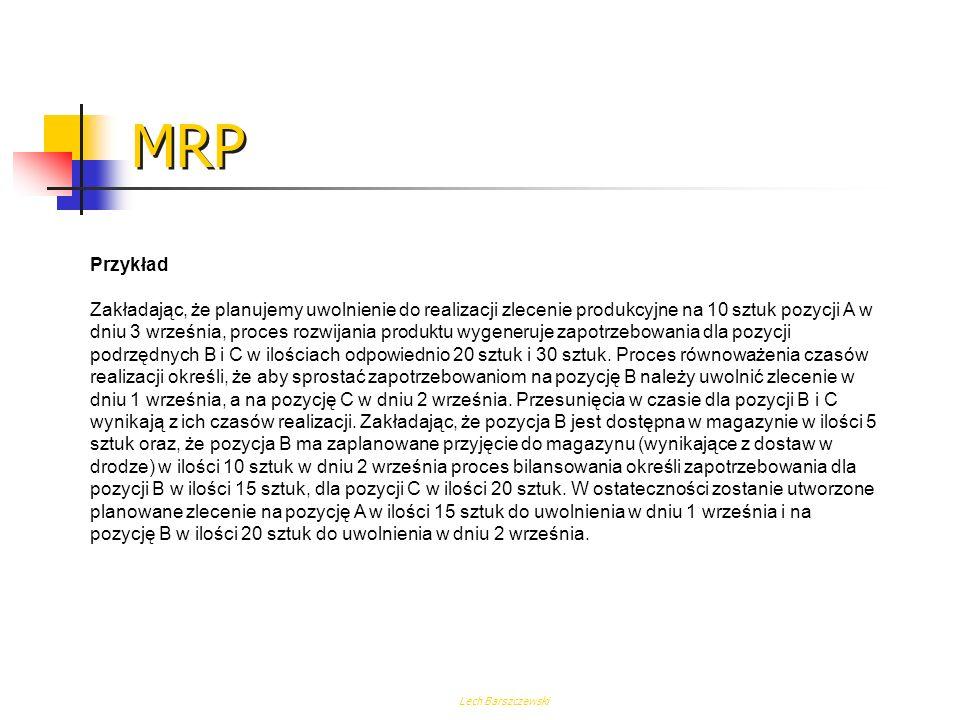 Lech Barszczewski MRP Przykład Zakładając, że planujemy uwolnienie do realizacji zlecenie produkcyjne na 10 sztuk pozycji A w dniu 3 września, proces rozwijania produktu wygeneruje zapotrzebowania dla pozycji podrzędnych B i C w ilościach odpowiednio 20 sztuk i 30 sztuk.