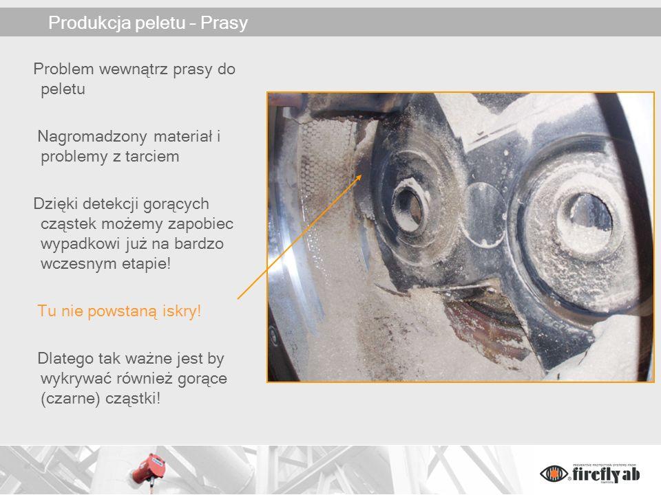 Produkcja peletu – Prasy Problem wewnątrz prasy do peletu Nagromadzony materiał i problemy z tarciem Dzięki detekcji gorących cząstek możemy zapobiec