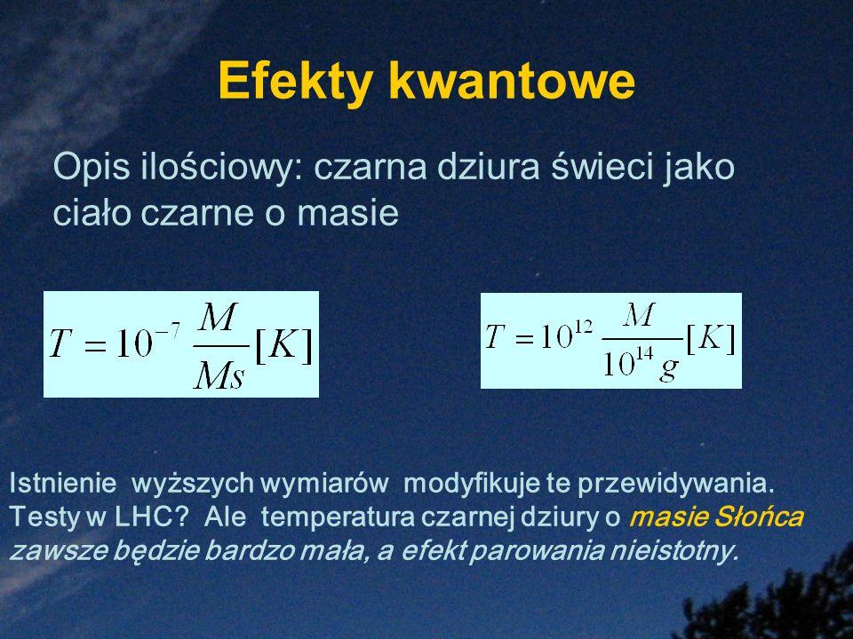 Efekty kwantowe Istnienie wyższych wymiarów modyfikuje te przewidywania. Testy w LHC? Ale temperatura czarnej dziury o masie Słońca zawsze będzie bard