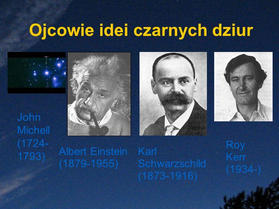 Ojcowie idei czarnych dziur John Michell (1724- 1793) Albert Einstein (1879-1955) Karl Schwarzschild (1873-1916) Roy Kerr (1934-)