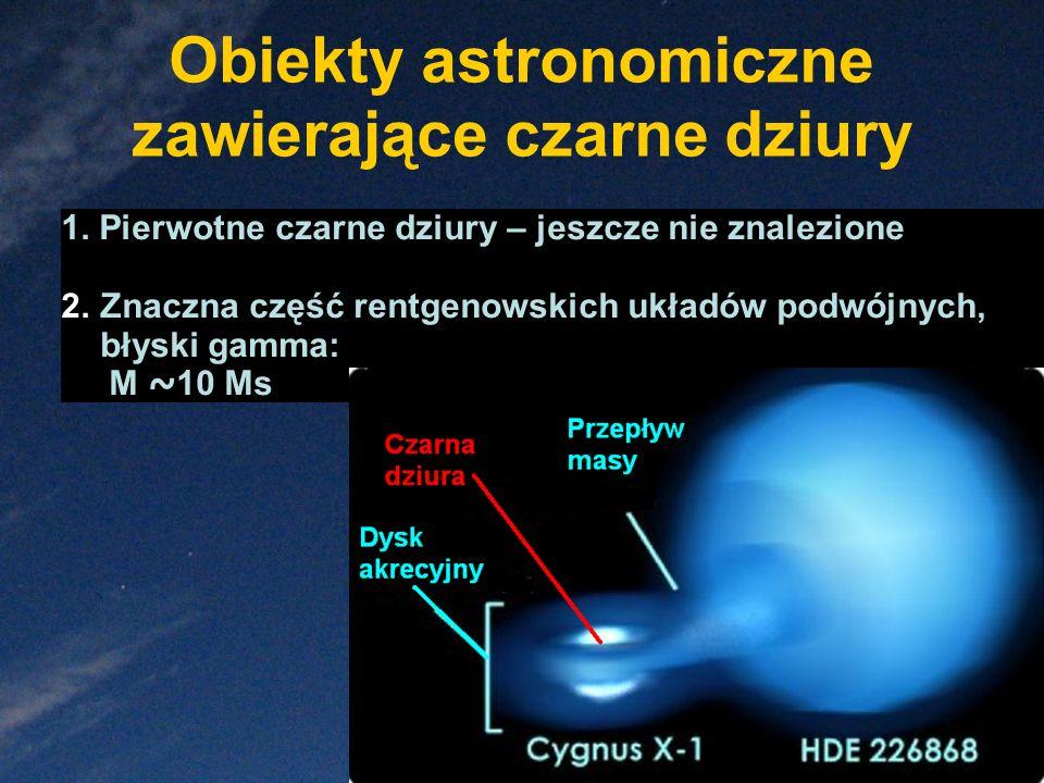 Obiekty astronomiczne zawierające czarne dziury 1. Pierwotne czarne dziury – jeszcze nie znalezione 2.Znaczna część rentgenowskich układów podwójnych,