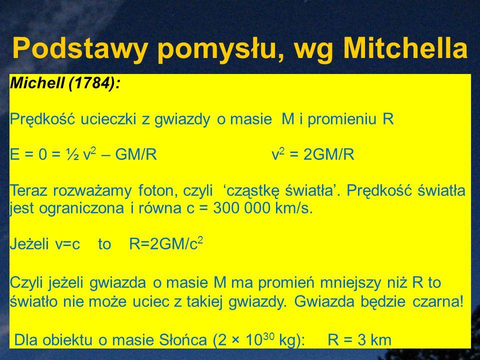 Podstawy pomysłu, wg Mitchella Michell (1784): Prędkość ucieczki z gwiazdy o masie M i promieniu R E = 0 = ½ v 2 – GM/R v 2 = 2GM/R Teraz rozważamy fo