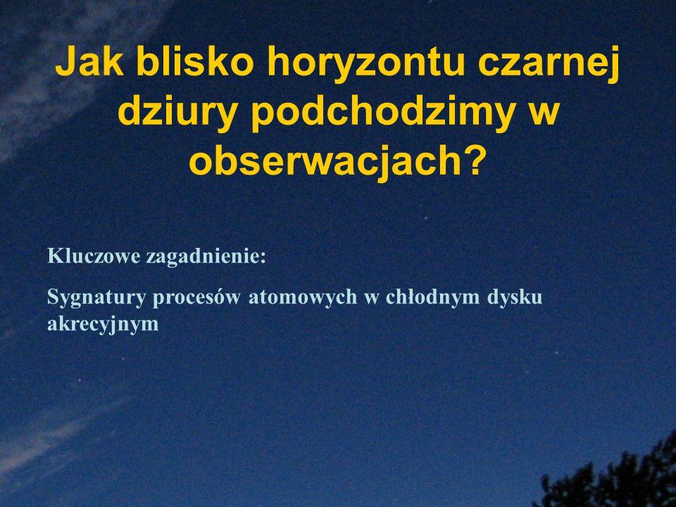 Jak blisko horyzontu czarnej dziury podchodzimy w obserwacjach? Kluczowe zagadnienie: Sygnatury procesów atomowych w chłodnym dysku akrecyjnym