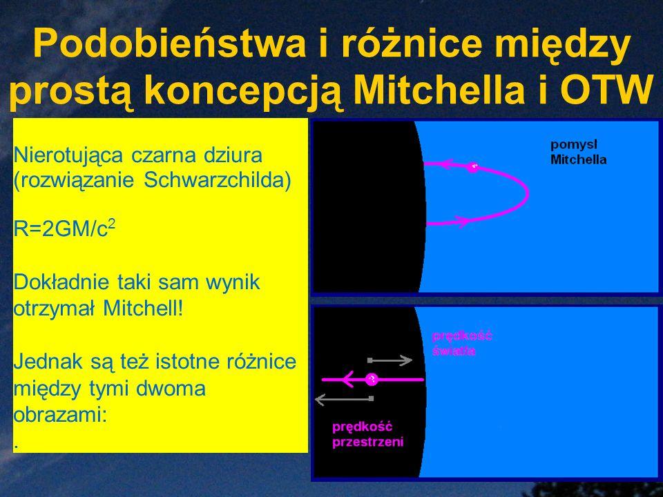 Podobieństwa i różnice między prostą koncepcją Mitchella i OTW Nierotująca czarna dziura (rozwiązanie Schwarzchilda) R=2GM/c 2 Dokładnie taki sam wyni