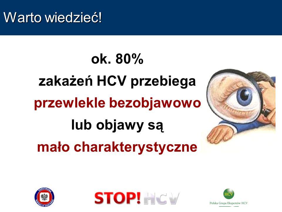 Warto wiedzieć! ok. 80% zakażeń HCV przebiega przewlekle bezobjawowo lub objawy są mało charakterystyczne