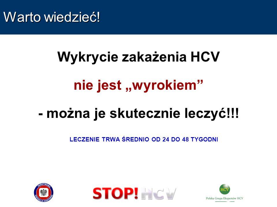 Warto wiedzieć! Wykrycie zakażenia HCV nie jest wyrokiem - można je skutecznie leczyć!!! LECZENIE TRWA ŚREDNIO OD 24 DO 48 TYGODNI