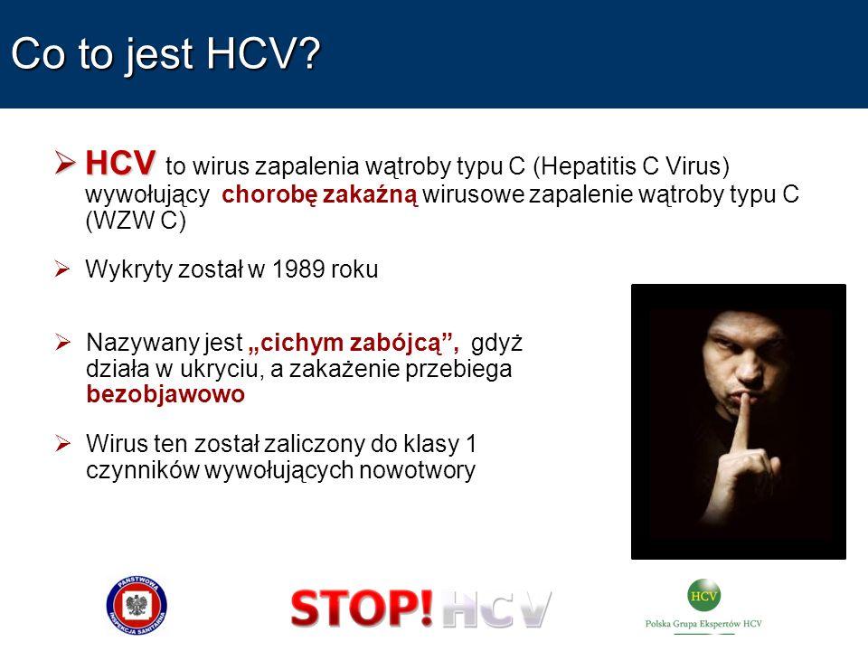 Co to jest HCV? HCV HCV to wirus zapalenia wątroby typu C (Hepatitis C Virus) wywołujący chorobę zakaźną wirusowe zapalenie wątroby typu C (WZW C) Wyk