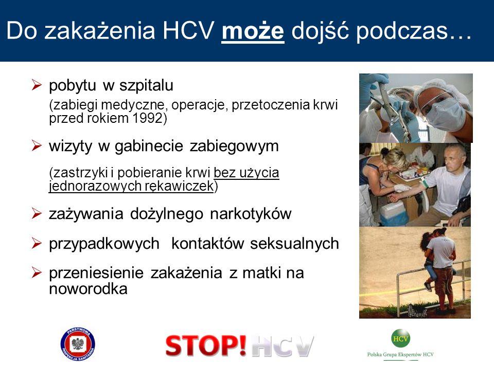 Do zakażenia HCV może dojść podczas… pobytu w szpitalu (zabiegi medyczne, operacje, przetoczenia krwi przed rokiem 1992) wizyty w gabinecie zabiegowym