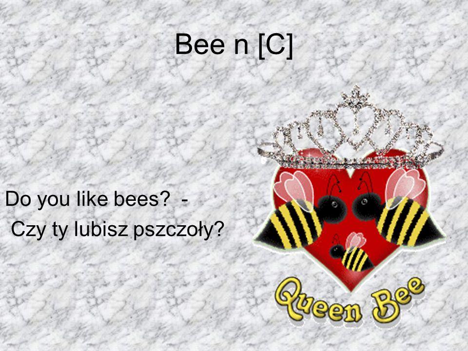 Bee n [C] Do you like bees? - Czy ty lubisz pszczoły?