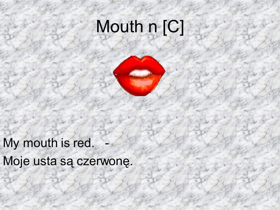 Mouth n [C] My mouth is red. - Moje usta są czerwonę.
