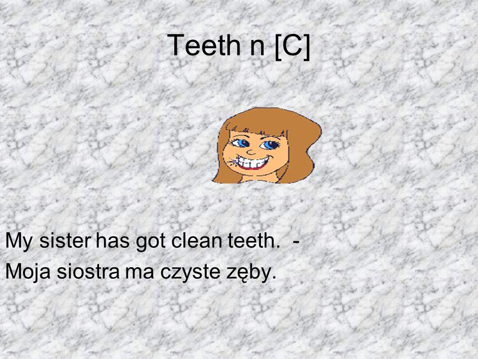 Teeth n [C] My sister has got clean teeth. - Moja siostra ma czyste zęby.
