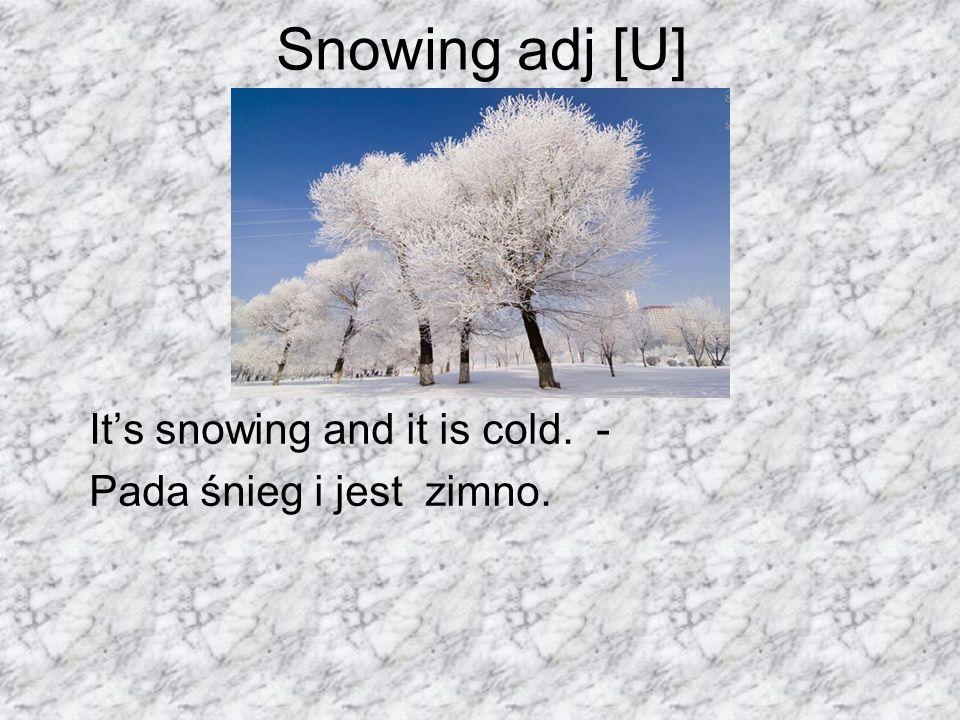 Snowing adj [U] Its snowing and it is cold. - Pada śnieg i jest zimno.