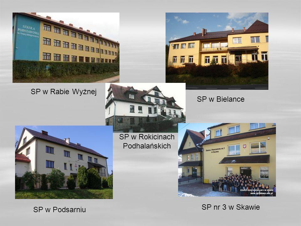 SP w Rabie Wyżnej SP w Bielance SP w Rokicinach Podhalańskich SP nr 3 w Skawie SP w Podsarniu