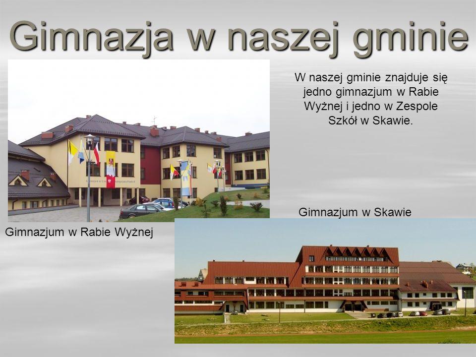 Gimnazja w naszej gminie W naszej gminie znajduje się jedno gimnazjum w Rabie Wyżnej i jedno w Zespole Szkół w Skawie. Gimnazjum w Rabie Wyżnej Gimnaz
