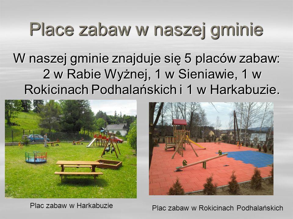 Place zabaw w naszej gminie W naszej gminie znajduje się 5 placów zabaw: 2 w Rabie Wyżnej, 1 w Sieniawie, 1 w Rokicinach Podhalańskich i 1 w Harkabuzi