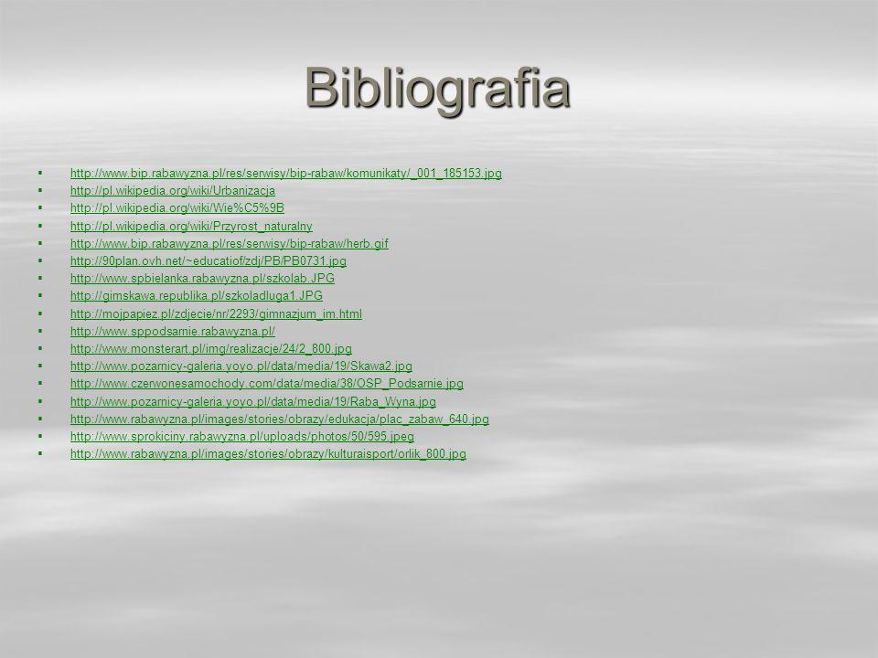 Bibliografia http://www.bip.rabawyzna.pl/res/serwisy/bip-rabaw/komunikaty/_001_185153.jpg http://pl.wikipedia.org/wiki/Urbanizacja http://pl.wikipedia