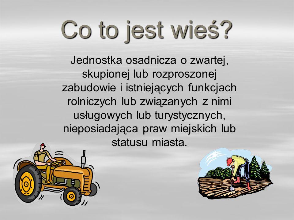 Co to jest wieś? Jednostka osadnicza o zwartej, skupionej lub rozproszonej zabudowie i istniejących funkcjach rolniczych lub związanych z nimi usługow