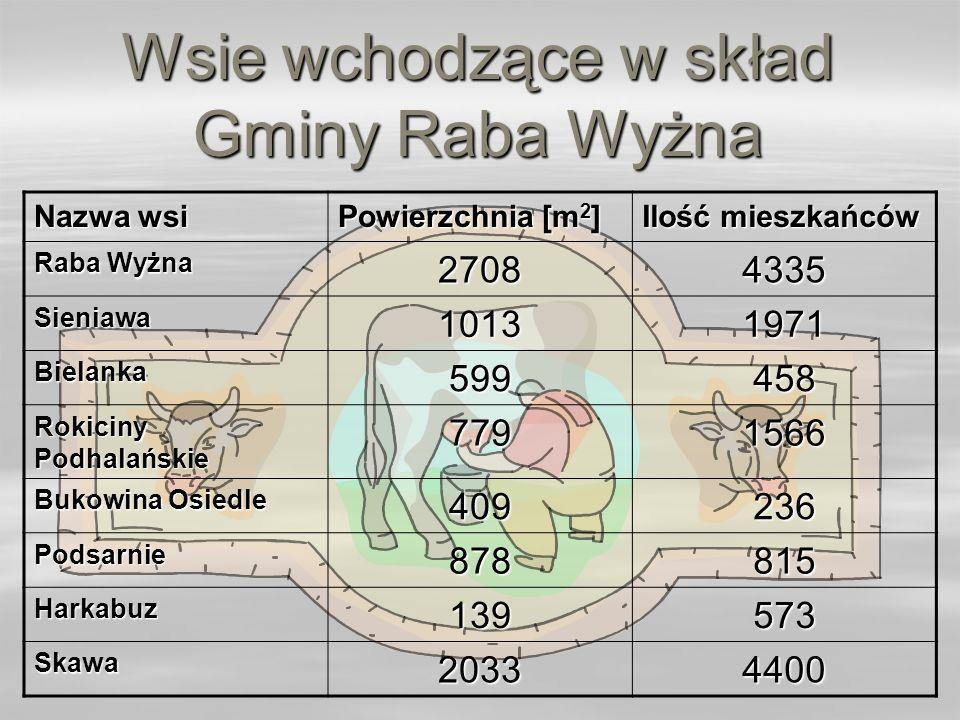 Wsie wchodzące w skład Gminy Raba Wyżna Nazwa wsi Powierzchnia [m 2 ] Ilość mieszkańców Raba Wyżna 27084335 Sieniawa10131971 Bielanka599458 Rokiciny P
