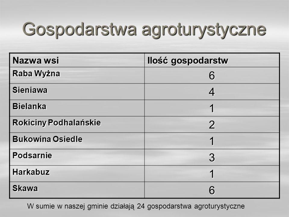 Gospodarstwa agroturystyczne Nazwa wsi Ilość gospodarstw Raba Wyżna 6 Sieniawa4 Bielanka1 Rokiciny Podhalańskie 2 Bukowina Osiedle 1 Podsarnie3 Harkab