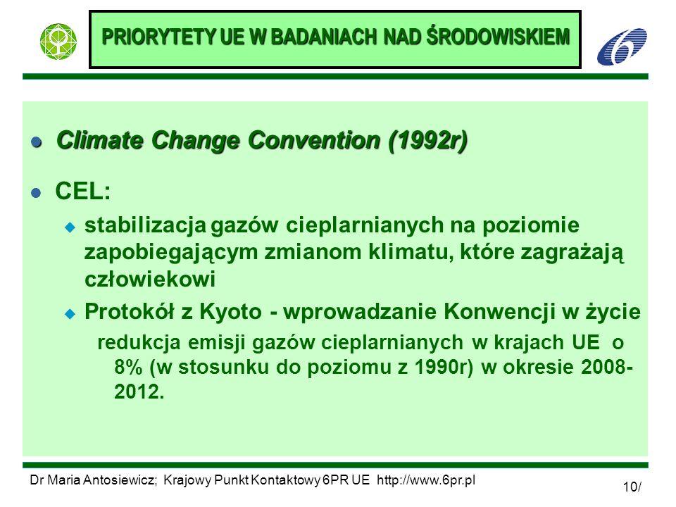 Dr Maria Antosiewicz; Krajowy Punkt Kontaktowy 6PR UE http://www.6pr.pl 10/ PRIORYTETY UE W BADANIACH NAD ŚRODOWISKIEM l Climate Change Convention (19