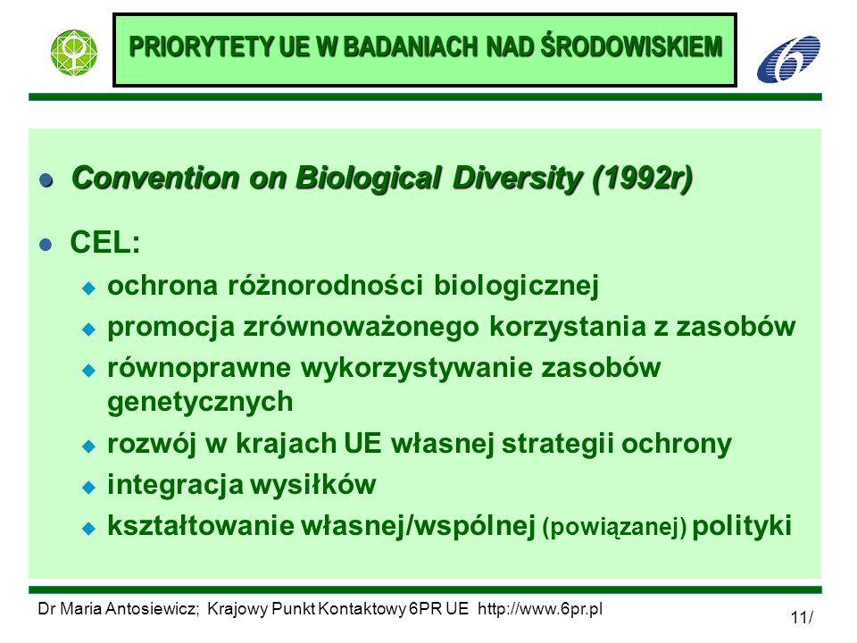 Dr Maria Antosiewicz; Krajowy Punkt Kontaktowy 6PR UE http://www.6pr.pl 11/ PRIORYTETY UE W BADANIACH NAD ŚRODOWISKIEM l Convention on Biological Dive