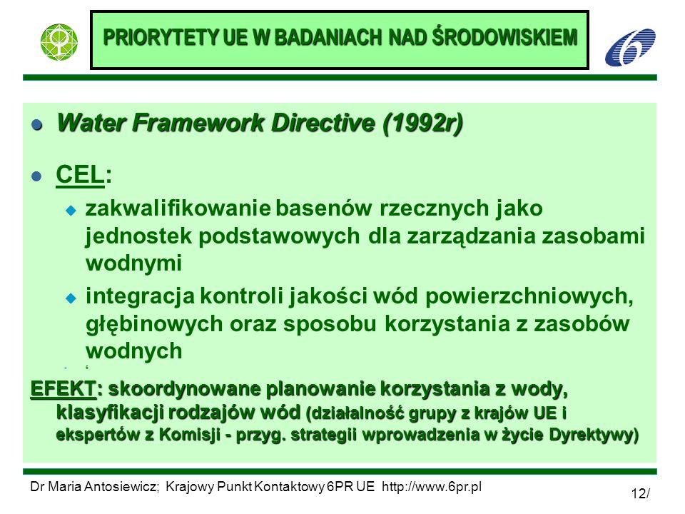 Dr Maria Antosiewicz; Krajowy Punkt Kontaktowy 6PR UE http://www.6pr.pl 12/ PRIORYTETY UE W BADANIACH NAD ŚRODOWISKIEM l Water Framework Directive (19