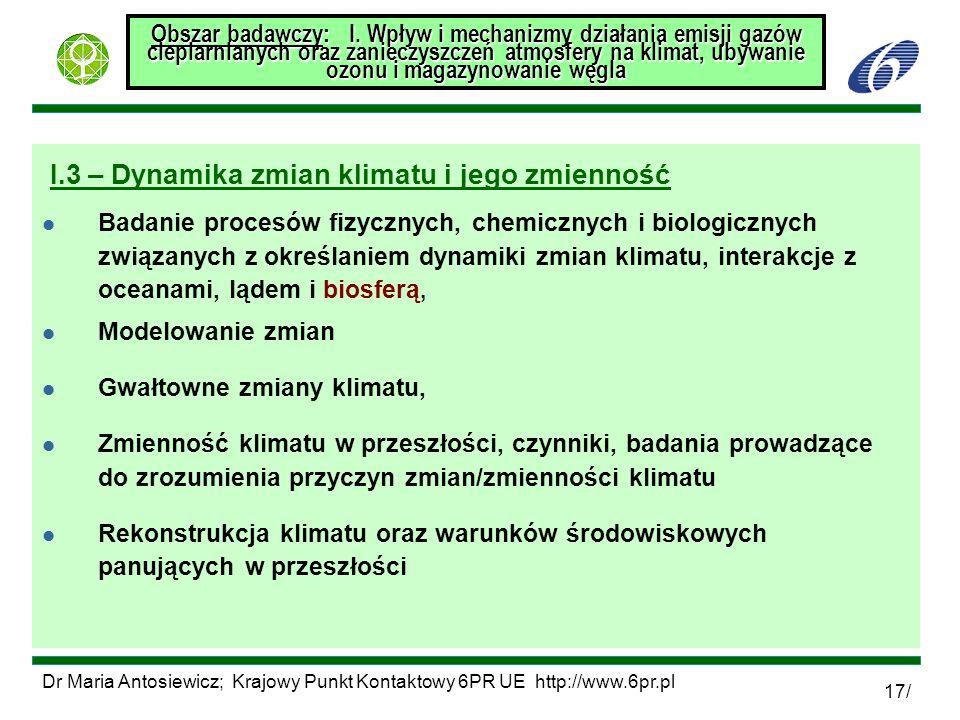 Dr Maria Antosiewicz; Krajowy Punkt Kontaktowy 6PR UE http://www.6pr.pl 17/ Obszar badawczy: I. Wpływ i mechanizmy działania emisji gazów cieplarniany