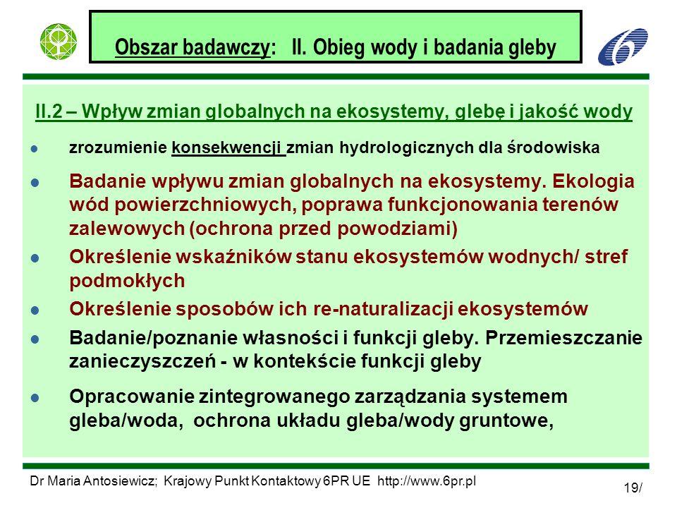 Dr Maria Antosiewicz; Krajowy Punkt Kontaktowy 6PR UE http://www.6pr.pl 19/ Obszar badawczy: II. Obieg wody i badania gleby II.2 – Wpływ zmian globaln