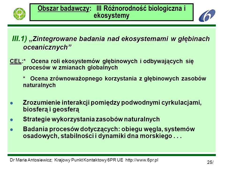 Dr Maria Antosiewicz; Krajowy Punkt Kontaktowy 6PR UE http://www.6pr.pl 25/ Obszar badawczy: III Różnorodność biologiczna i ekosystemy Zintegrowane ba