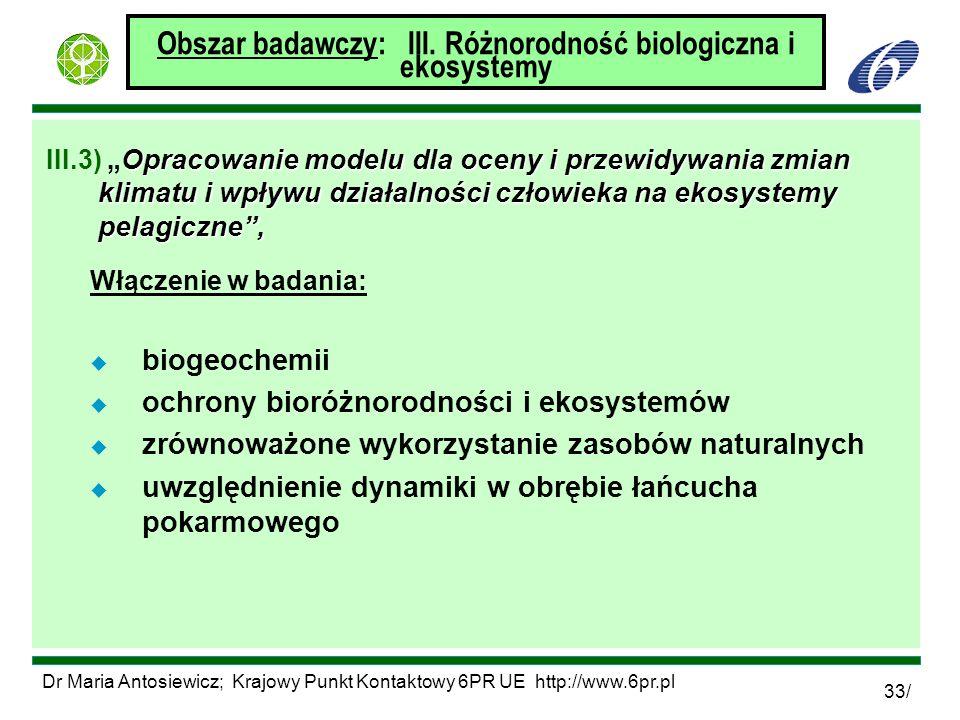 Dr Maria Antosiewicz; Krajowy Punkt Kontaktowy 6PR UE http://www.6pr.pl 33/ Obszar badawczy: III. Różnorodność biologiczna i ekosystemy Opracowanie mo