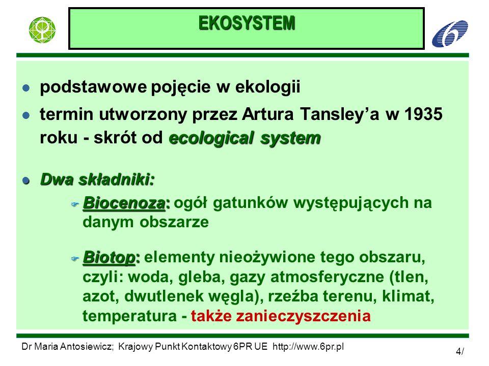 Dr Maria Antosiewicz; Krajowy Punkt Kontaktowy 6PR UE http://www.6pr.pl 5/ EKOSYSTEM l funkcjonalna całość, w której zachodzi wymiana materii między biocenozą, a biotopem l układ otwarty - przepływ energii (np.